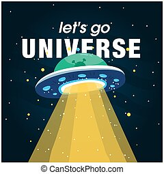 Let's Go Universe UFO Background Vector Image