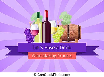 Lets Have a Drink Poster, Vector Illustration - Lets have...