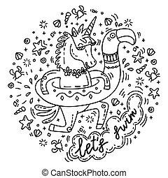 lets, nade, unicornio