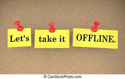 lets, nehmen, ihm, offline, kommunikation, haftzettel, talk, later, 3d, abbildung