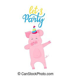 Let`s party. Dancing pig in a striped hat. Funny piggy dabbing cartoon character. Cute piglet have fun.