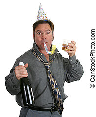 Lets Party - A guy at an office party with champagne, a...
