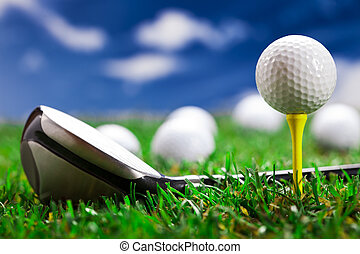 Let's play a round of golf! - Golf ball on the green grass. ...