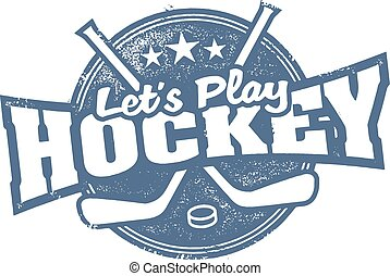 Lets Play Hockey Sports Stamp