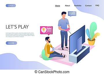Lets play vector website landing page design template