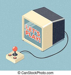 Lets play video games concept retro illustration.