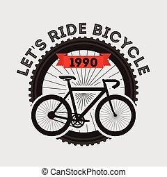lets ride bicycle sport transport retro banner design