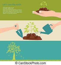 Let's save the earth. - Let's save the earth with green...