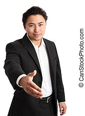 Young relaxed businessman wearing a suit. White background.