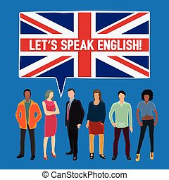 Let's speak english - conceptual vector illustration with ...