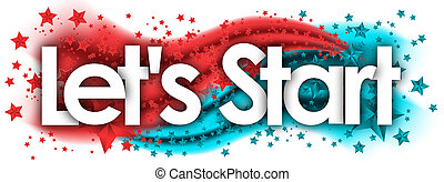 Let's Start word in stars colored background