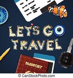 lets, travel., aller, vacances