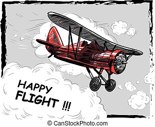 Lets travel concept vector illustration. Retro airplane poster. Old model plane is flying in the sky postcard