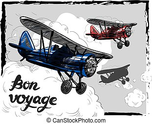 Lets travel concept vector illustration. Retro airplane poster. Old model plane is flying in the sky postcard. Bon Voyage