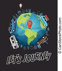 lets, viaje, concept., vector, logotipo, con, la tierra