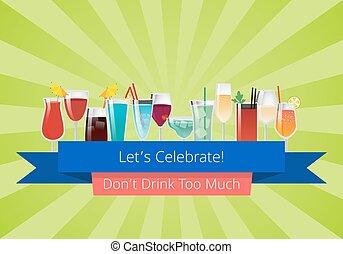 lets, vieren, don, t, drank, te (veel), set, van, dranken