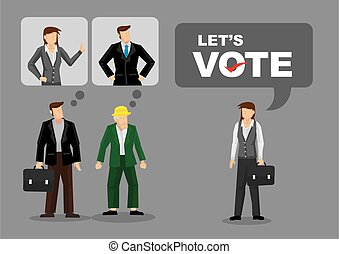Cartoon woman saying Lets Vote and different people have their own preferred candidates. Creative vector illustration on voting isolated on plain background.