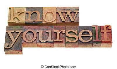 lettepress, -, タイプ, 知りなさい, あなた自身