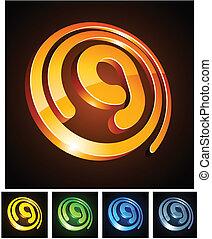 letter., 3d, g, vibrante