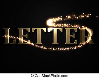 LETTER- 3d inscription with luminous line with spark