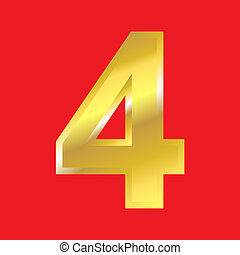 Letter 4 - Shiny golden letter 4 isoleted on red background...