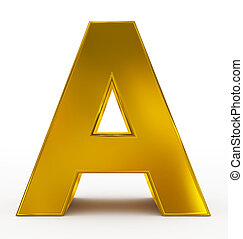 letter A 3d golden isolated on white