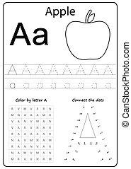 letter A. Alphabet letter. Worksheet. Task for kids. learning letters