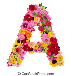 Letter a alphabet with flower ABC concept type as logo ...