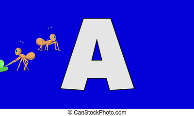 Letter A and Ant (background) - Animated animal alphabet....