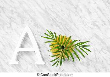 Letter A and palm leaves in a ceramic vase