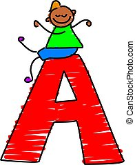 letter A boy - little toddler sitting on a letter A