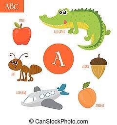 Letter A. Cartoon alphabet for children. Alligator, ant, apple, acorn, airplane, apricot
