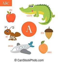 Letter A. Cartoon alphabet for children. Alligator, ant, apple, acorn, airplane, apricot
