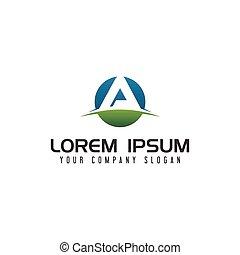 letter a circle logo design concept template