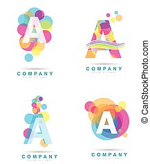 Letter A colored logo set