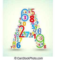 Letter A, colored vector font from numbers
