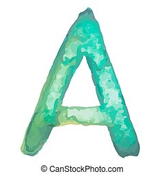 Letter A Colorful watercolor aquarelle font type handwritten hand draw doodle abc alphabet letters Vector illustration.
