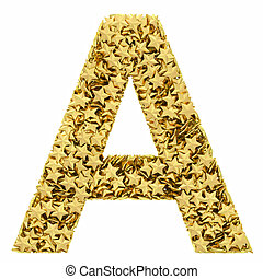 Letter A composed of golden stars isolated on white