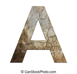 letter a cracked cement texture isolate