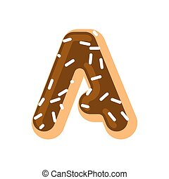 Letter A donut font. Doughnut alphabet. Sweet lettering. candy ABC sign