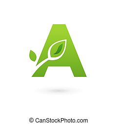 Letter A eco leaves logo icon design template elements....