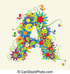 Letter A, floral design. See also letters in my gallery