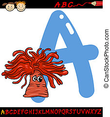 letter a for anemone cartoon illustration