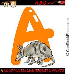 letter a for armadillo cartoon illustration