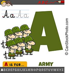 letter A from alphabet with cartoon army