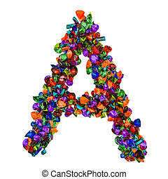Letter A from colored gemstones. 3D rendering