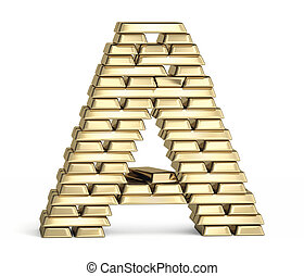 Letter A from gold bars