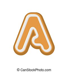 Letter A Gingerbread. Peppermint honey-cake font. Cookies alphabet. Lettering biscuit