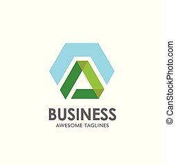 letter A hexagon logo design template