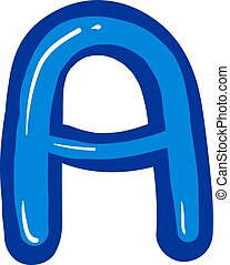 Letter A, illustration, vector on white background.